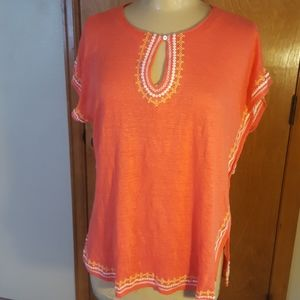 J. JILL love linen coral, embroidered blouse